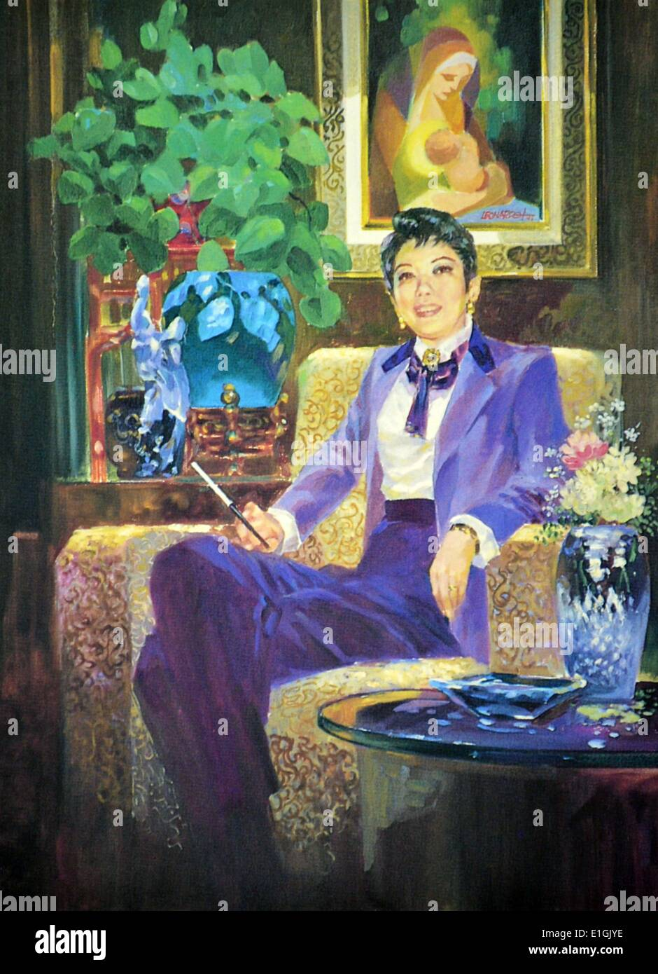 Leonardo Cruz, Portrait of Joy Dee, 1993. Oil on canvas. - Stock Image
