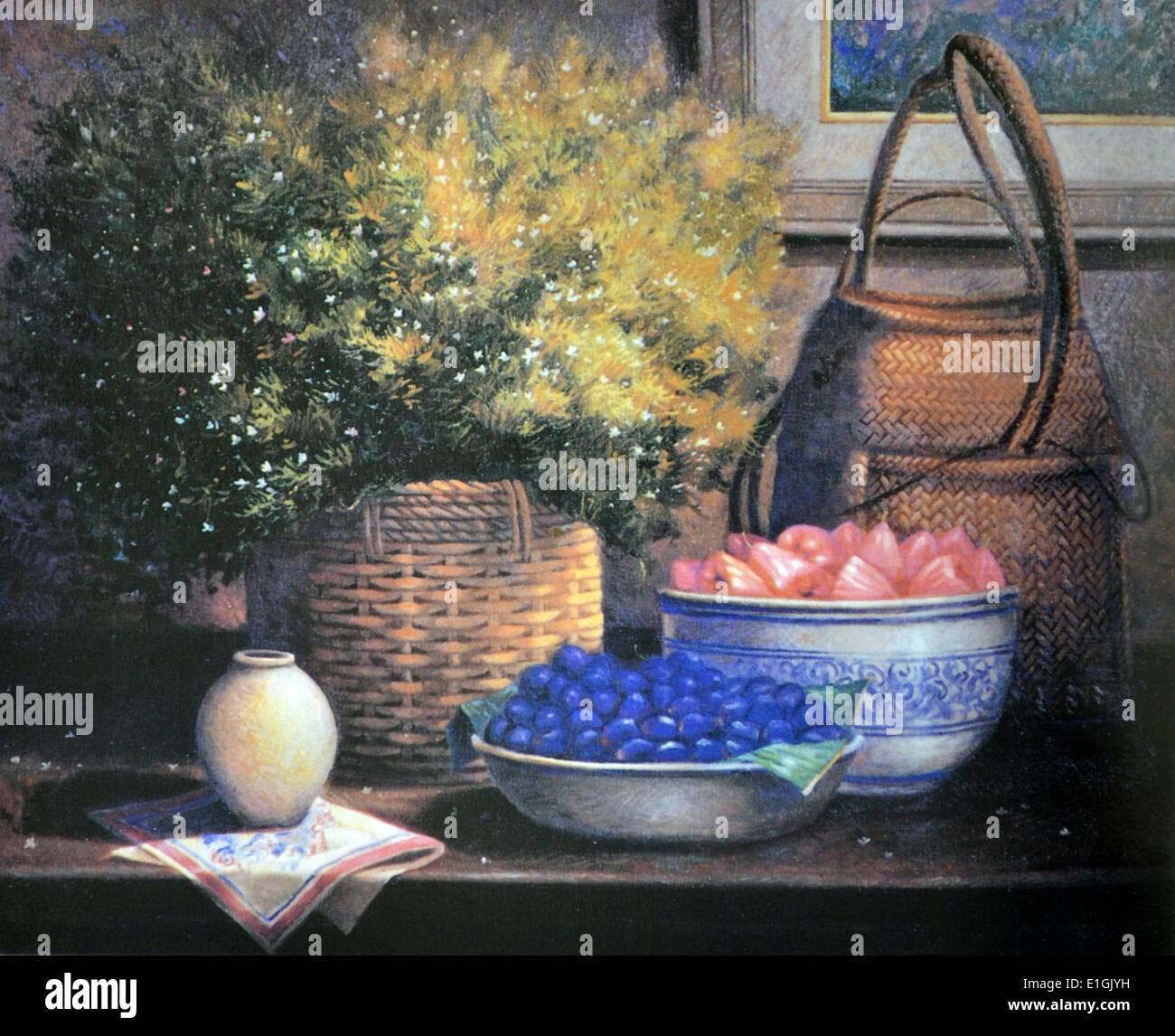 Roland Dellos Santos, Still Life with Macopa, 1995. Oil on canvas. - Stock Image