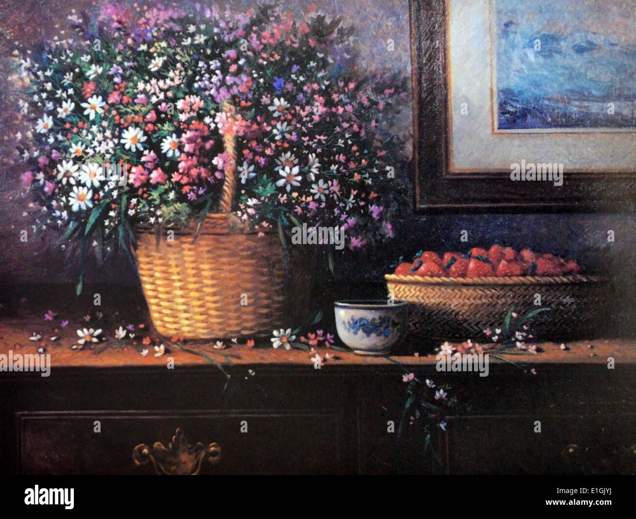 Roland Dellos Santos, Still Life with Strawberries 1995. Oil on canvas. - Stock Image