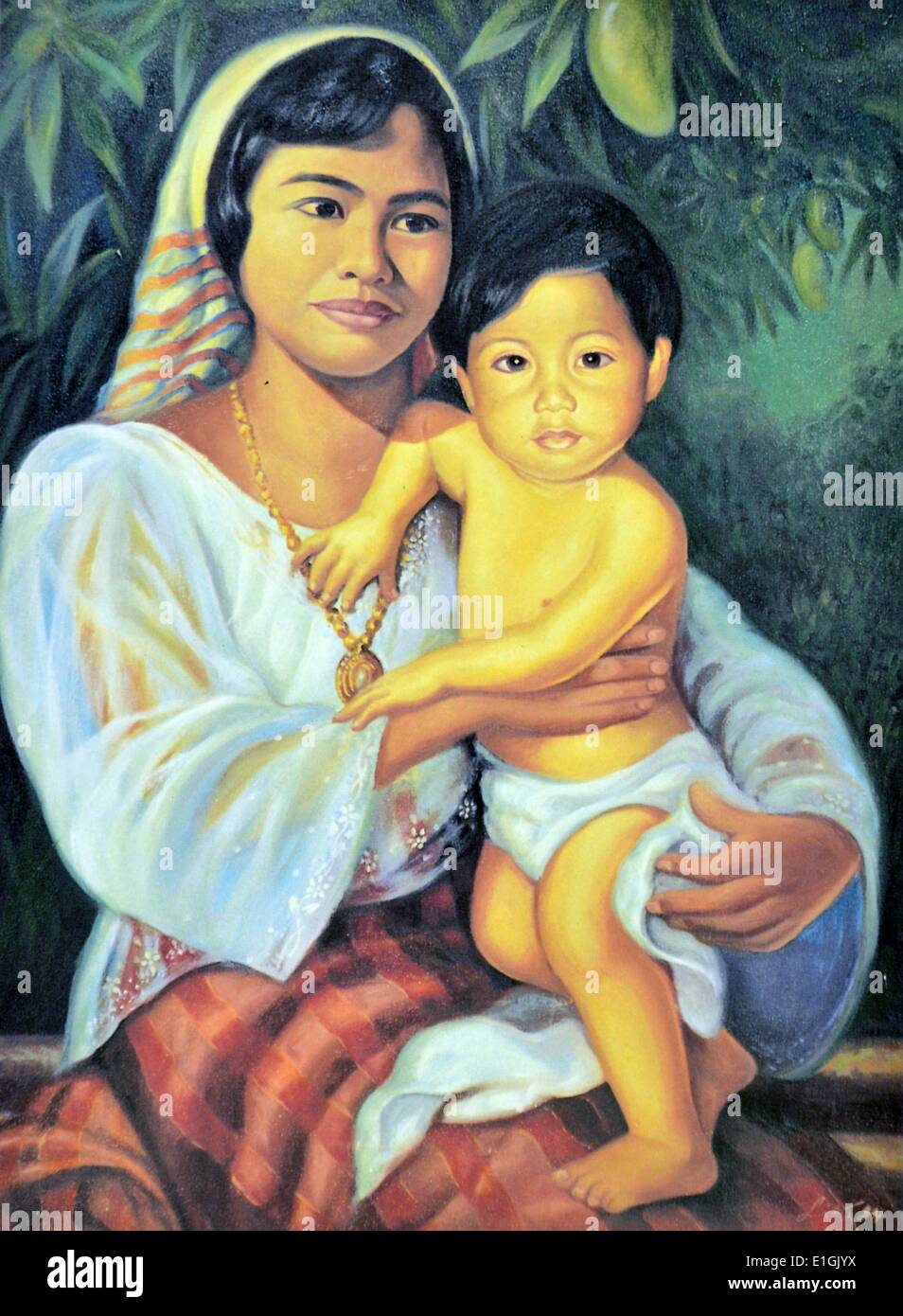 Edward Liao, Mother and Child, 1994.  Oil on canvas. - Stock Image