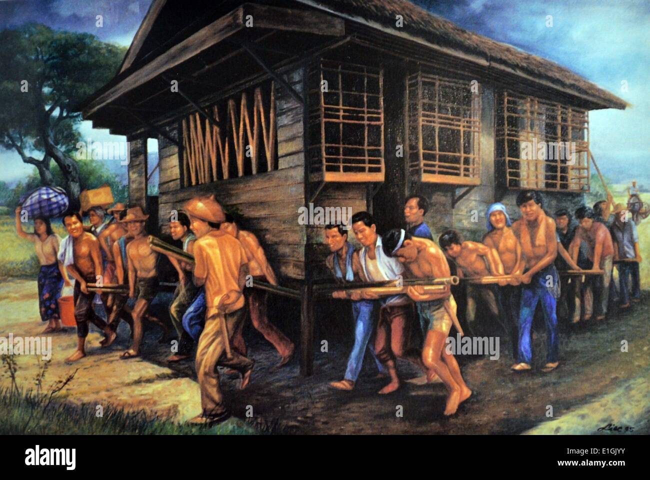 Edward Liao, Bayanihan, 1995.  Oil on canvas. - Stock Image