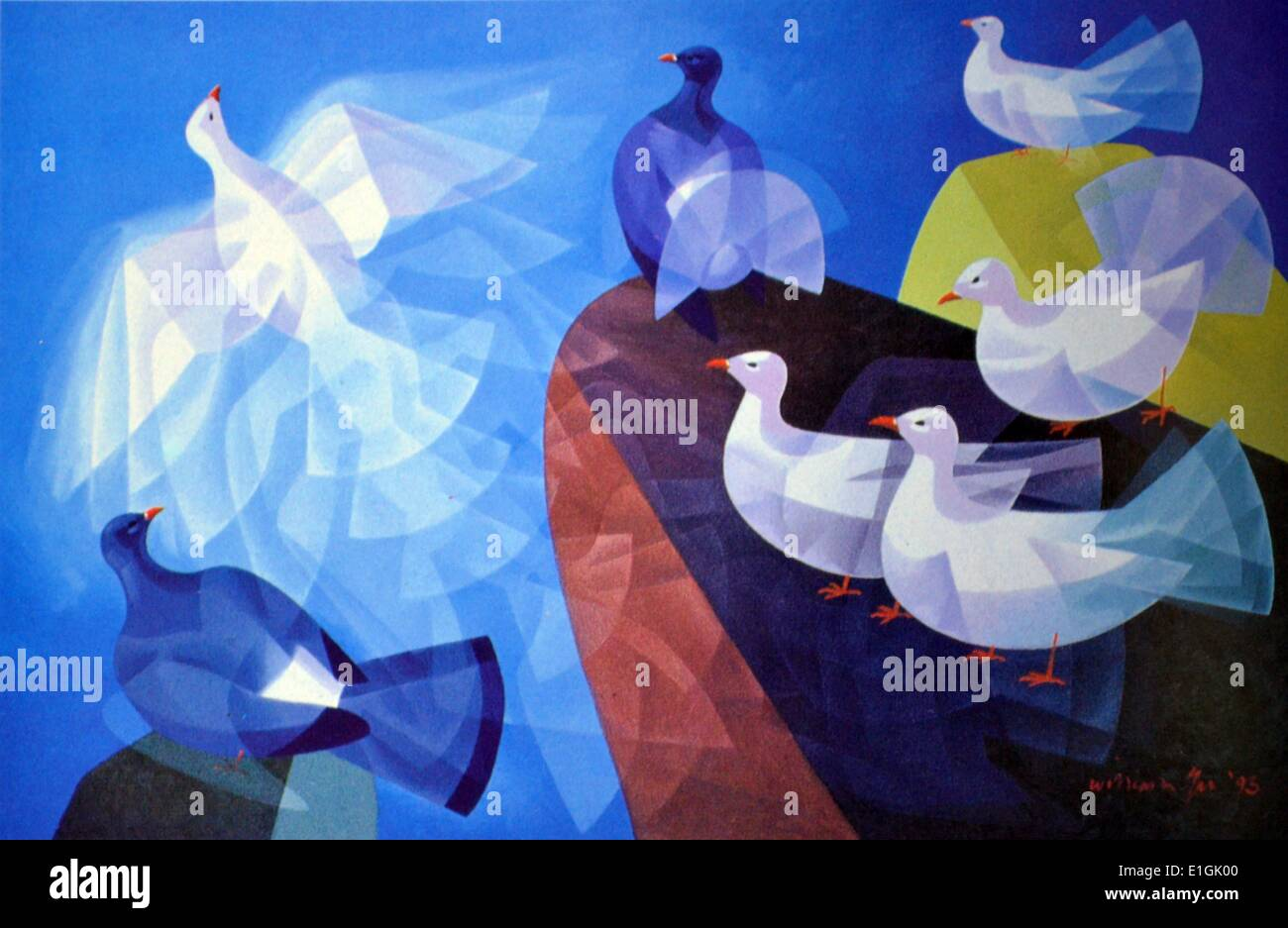 William Tu, Pigeon Rendezvous, 1995.  Oil on canvas. - Stock Image
