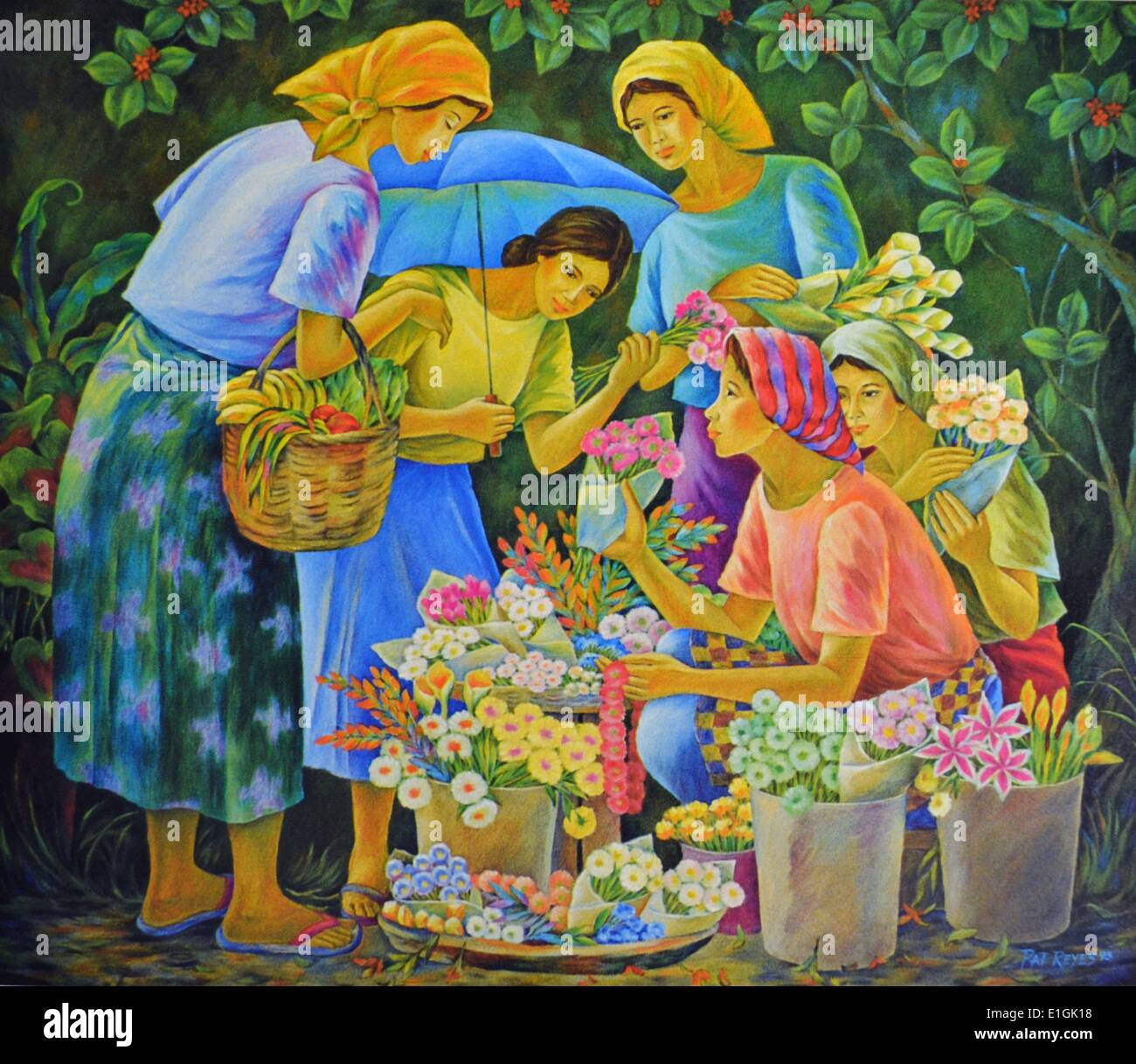 Pat Reyes, Young Lady Vendor, 1993.  Oil on canvas. - Stock Image