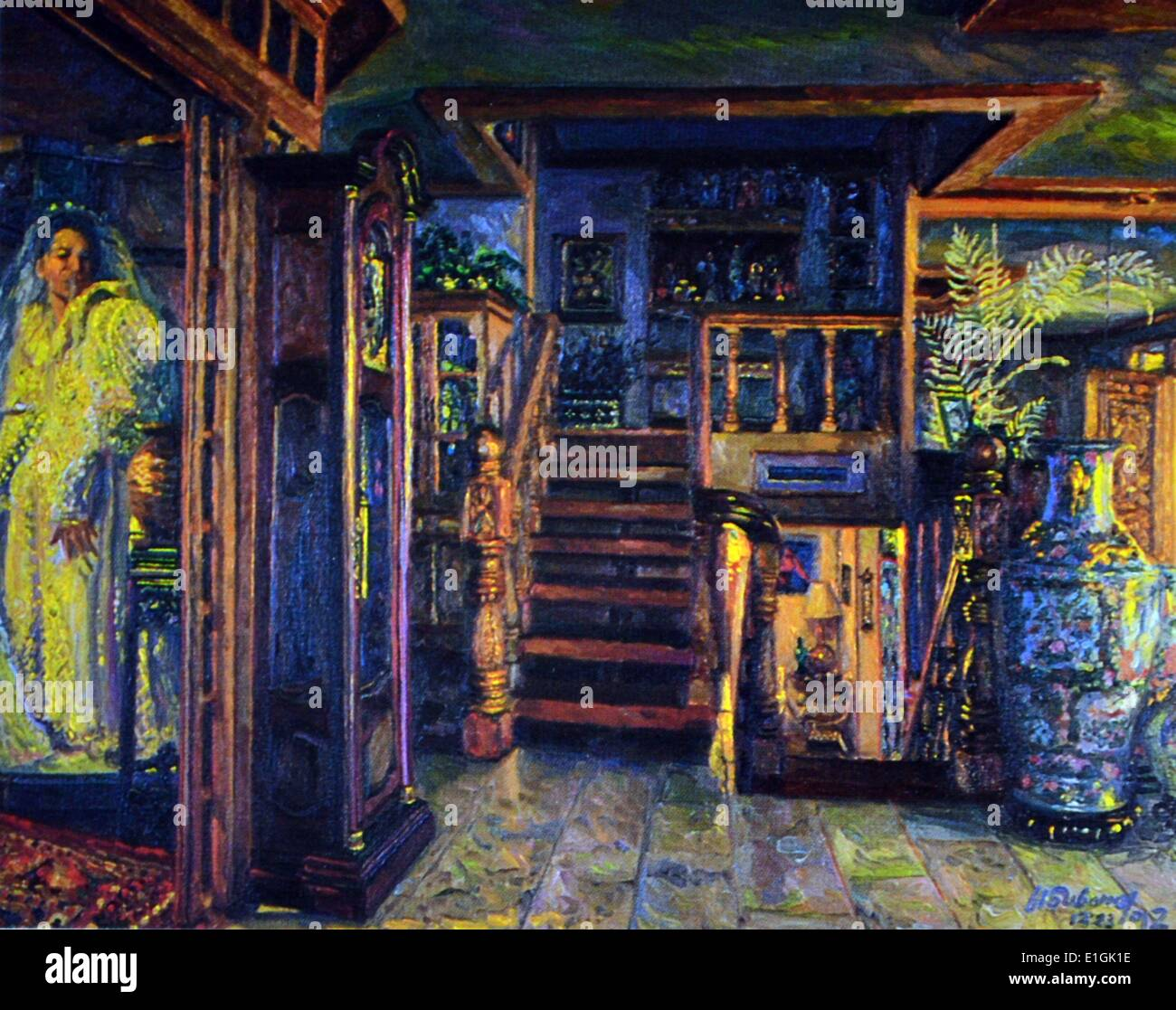 Gamaliel Subang, Interior 1992. Oil on canvas - Stock Image