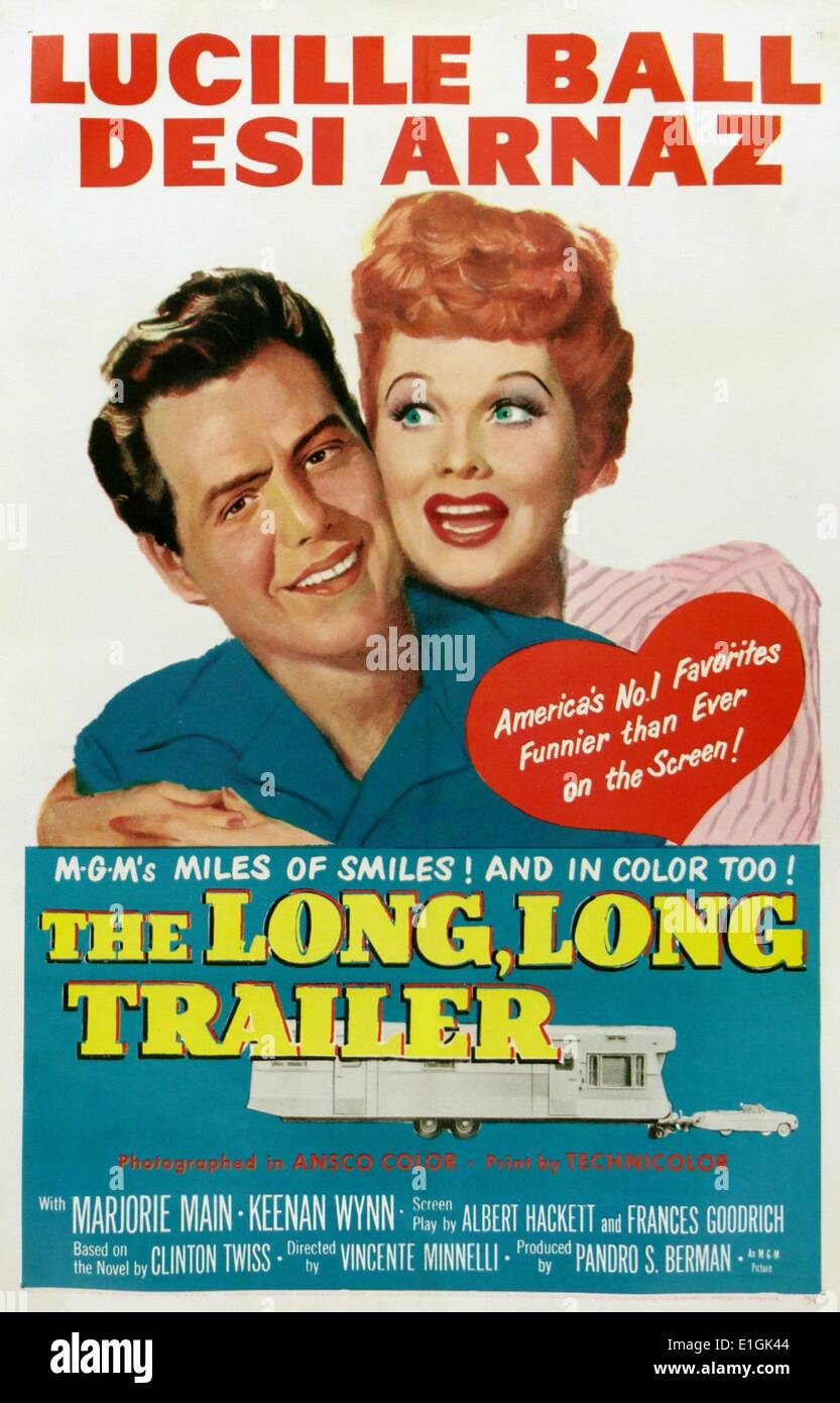 'The Long, Long Trailer' starring Lucille Ball a movie based on a novel of the same name. - Stock Image