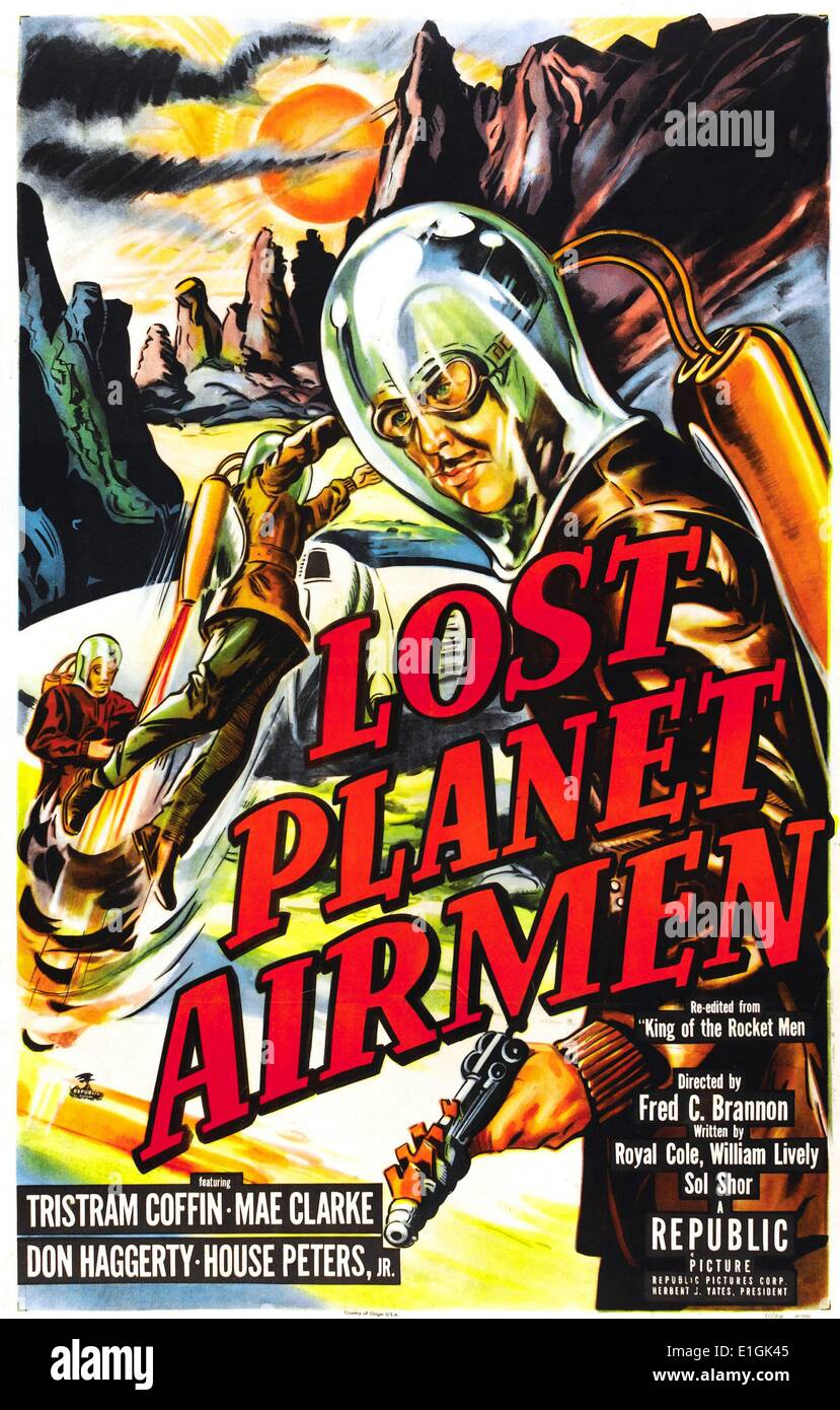 'Lost Planet Airmen' starring Tristram Coffin a 1951 science fiction film. - Stock Image