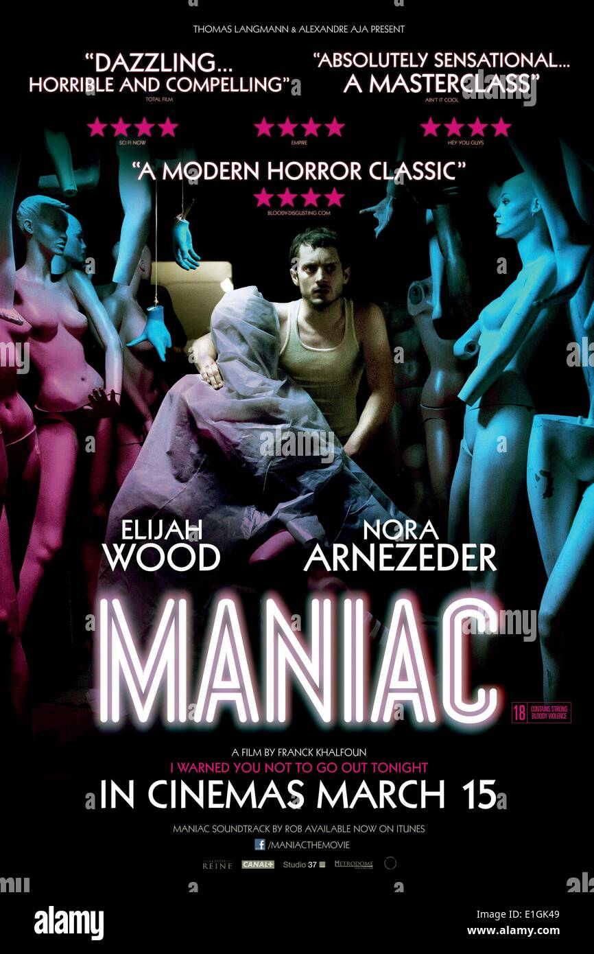 'Maniac' a remake of the 1980 film of the same name and stars Elijah Wood as Frank Zito, a brutal serial killer. - Stock Image