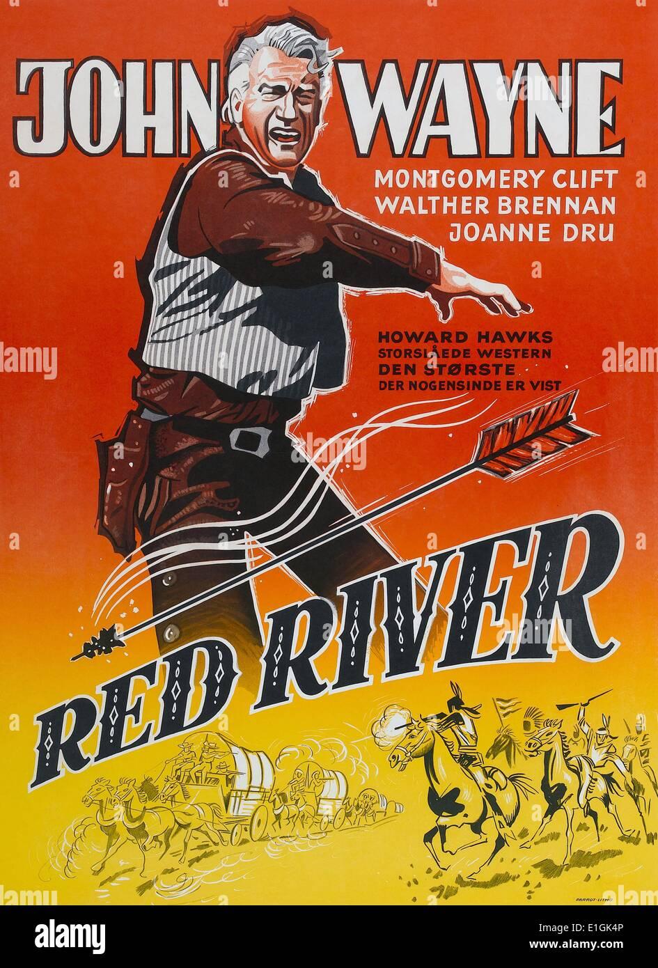 'Red River' a 1948 Western film starring John Wayne. - Stock Image