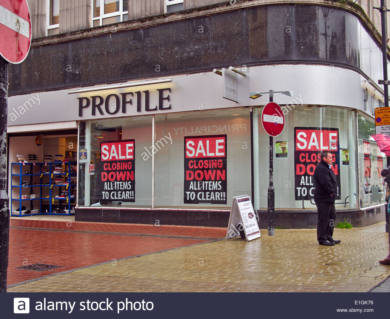 88517c80a9 closing down sale all items to clear in the profile store in green street  neath town centre south wales that has now closed down