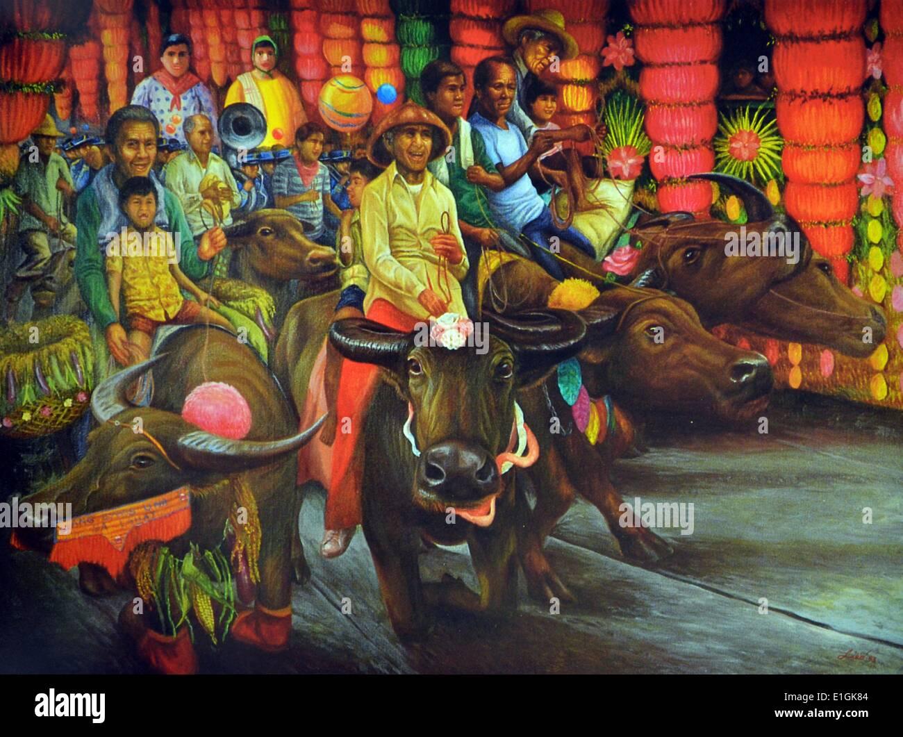 Edward Liao, Pahiyas, 1993.  Oil on canvas. - Stock Image