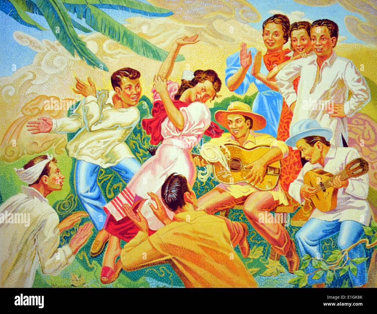 Ricarte M Puruganan 'Doon Po Sa amin' (there we go) 1979, Oil on canvas - Stock Image