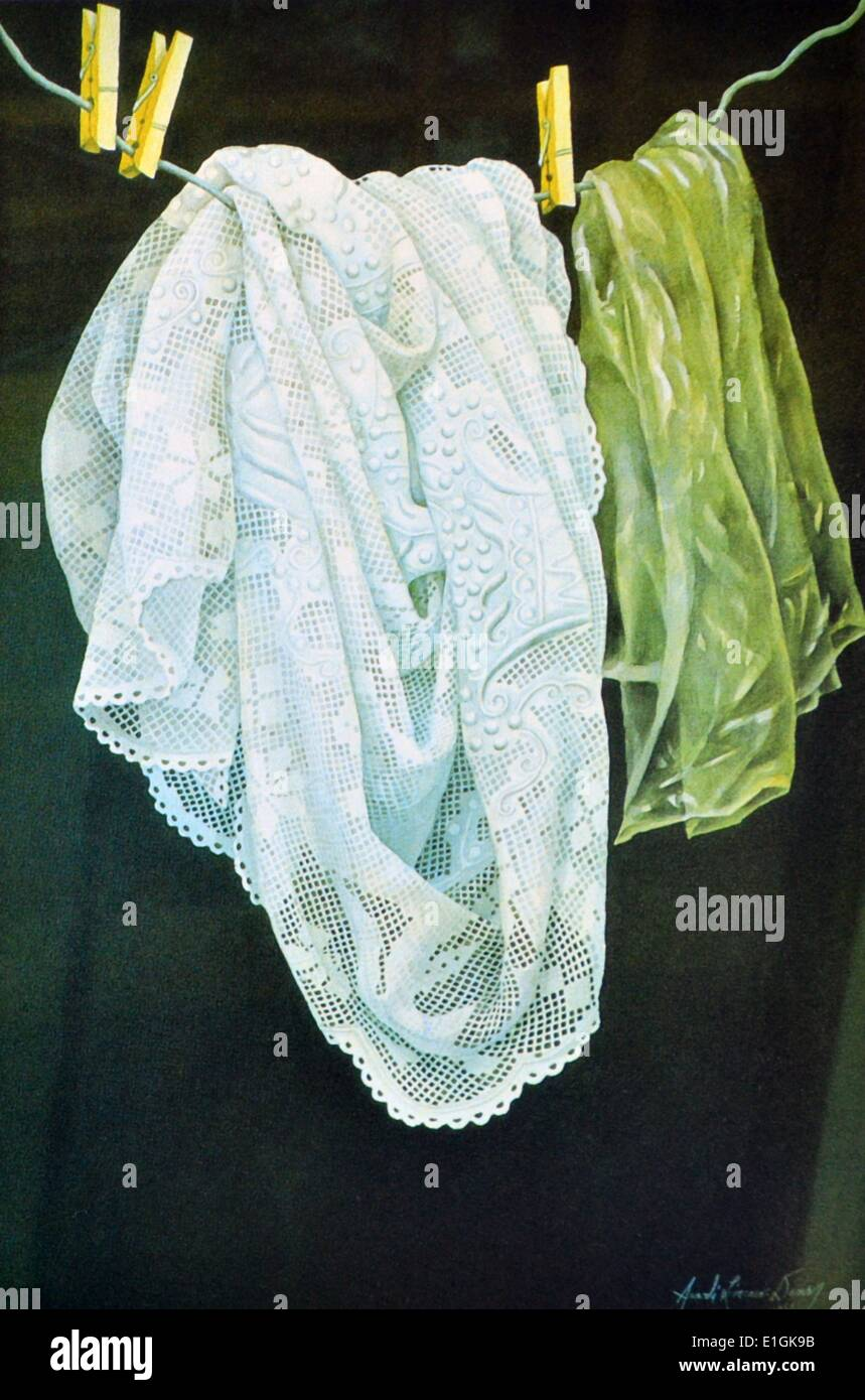 Arceli Dans, watercolour, 1992, 'Lace' - Stock Image