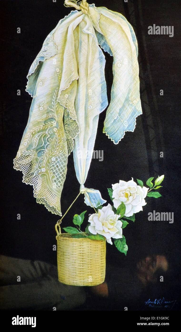 Arceli Dans, watercolour, 1982, 'Lace' - Stock Image