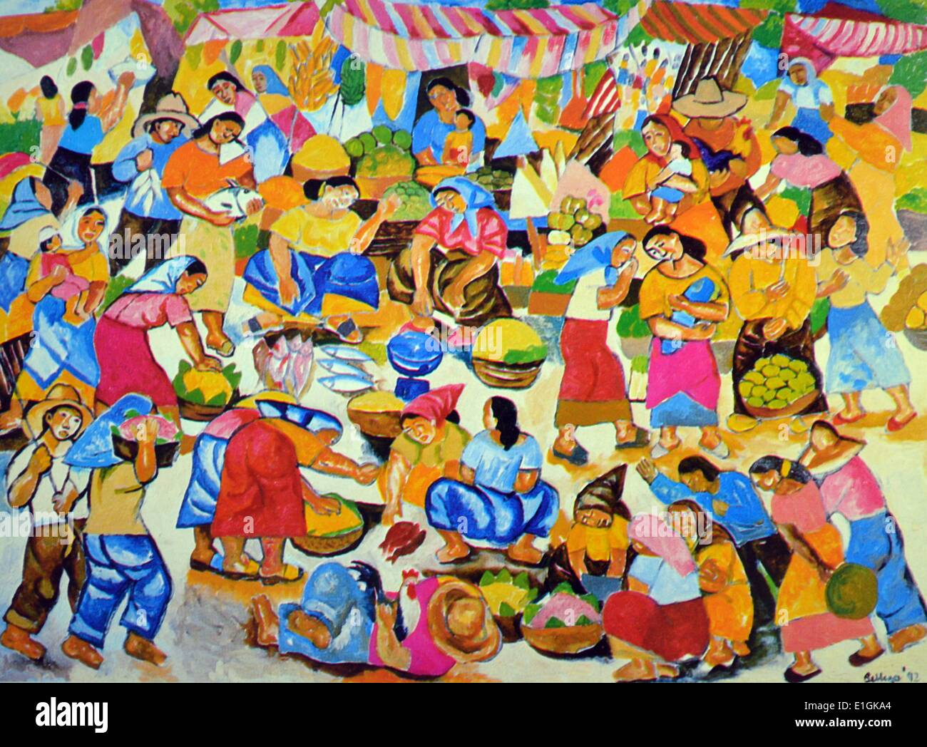 Norma Belleza, 'Little People' 1992, oil on canvas - Stock Image