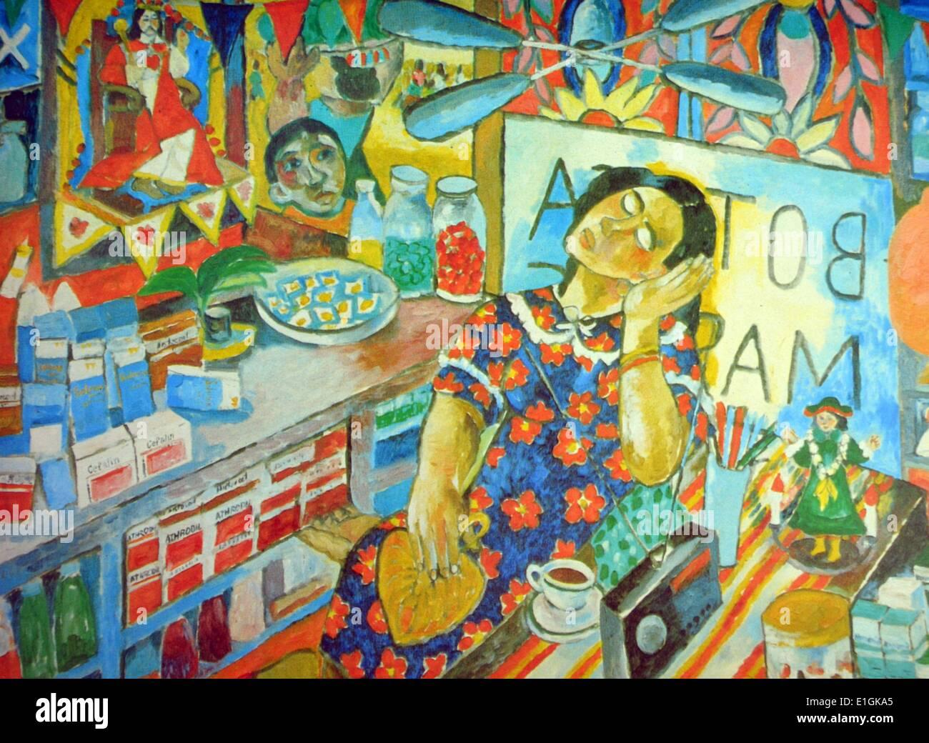 Norma Belleza, 'Botica' 1985, oil on canvas - Stock Image
