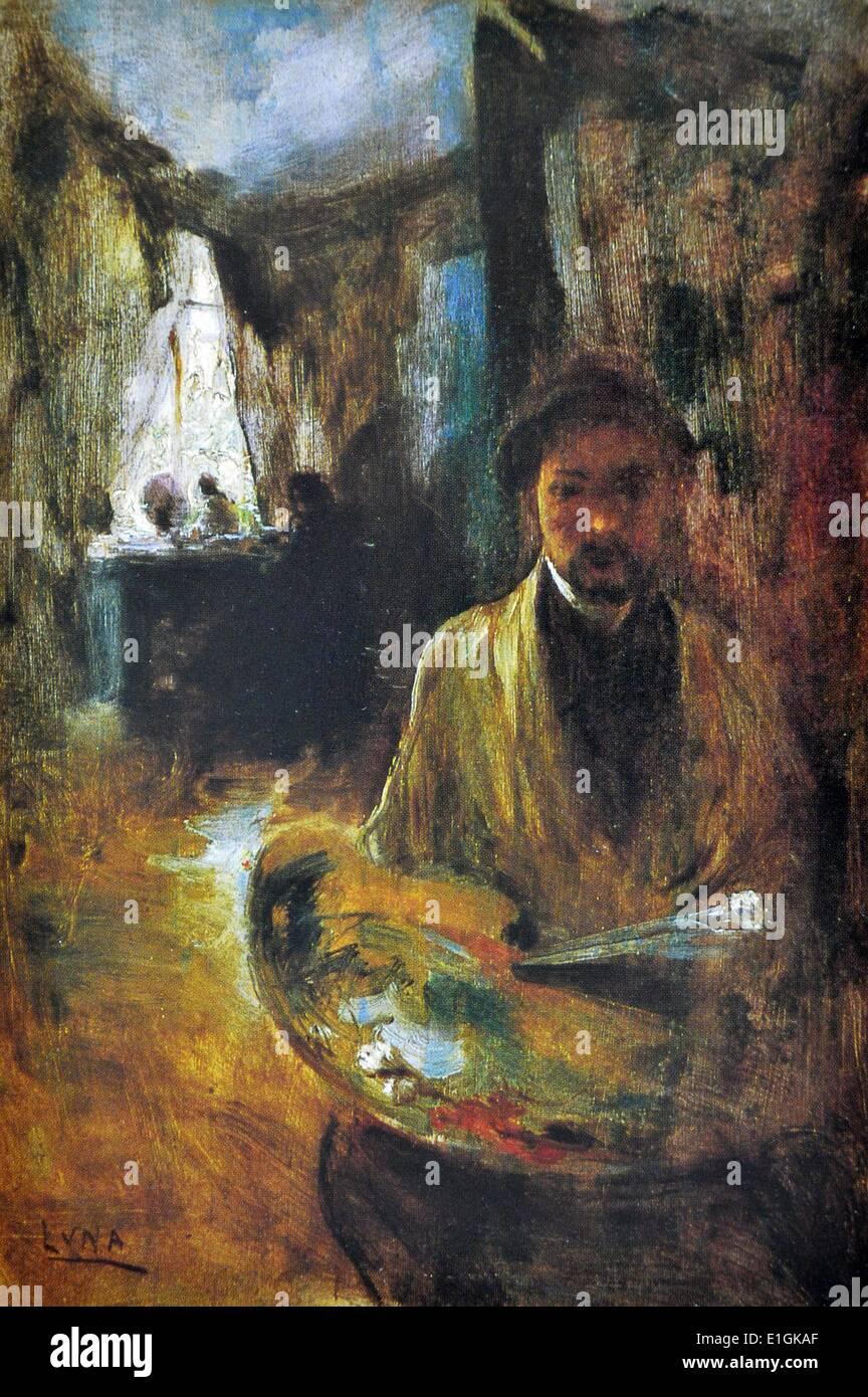 Juan Luna, Self-Portrait, 1885 (Paris).  Oil on panel board. - Stock Image