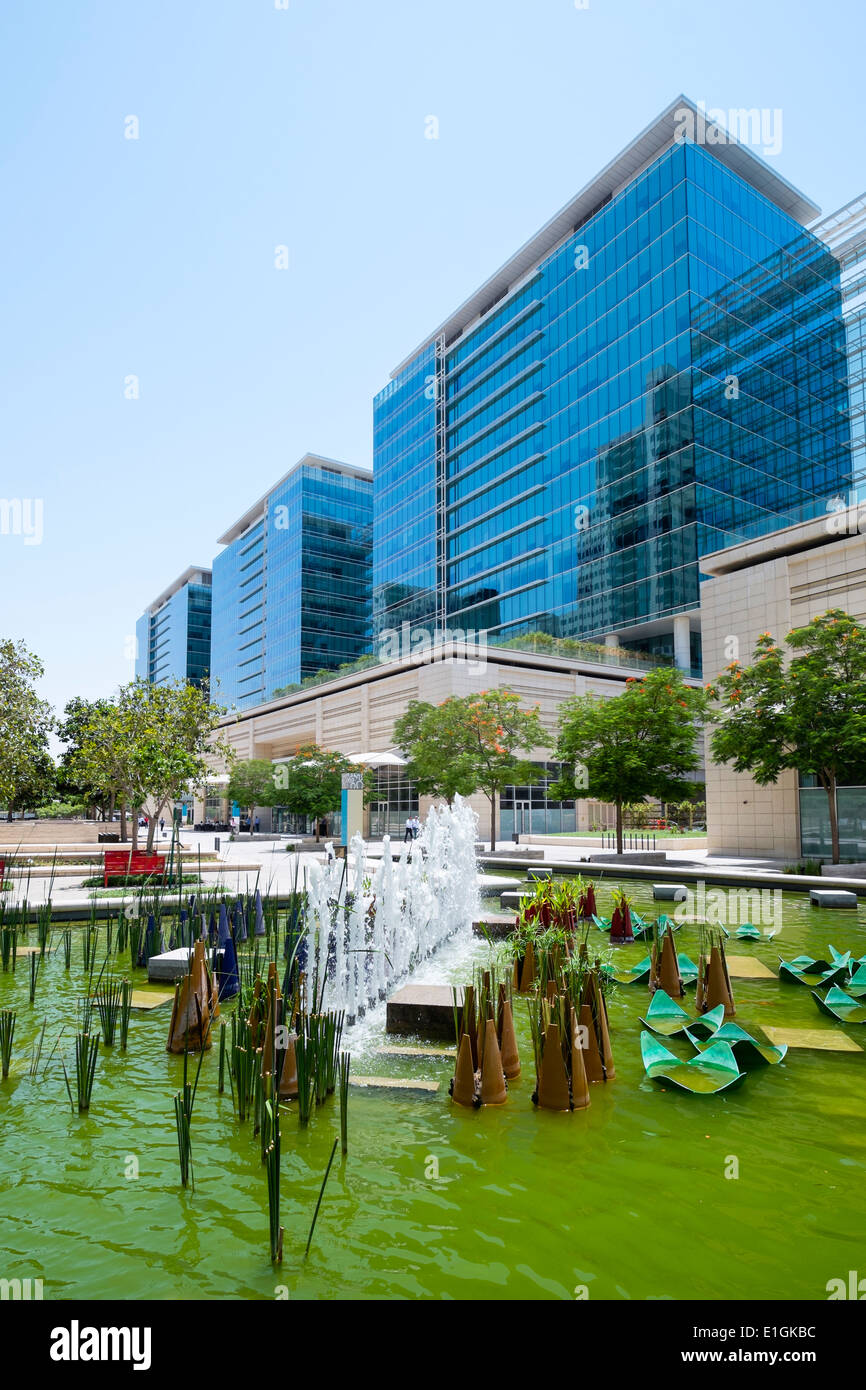 View of new commercial property developments at Downtown Jebel Ali in Dubai United Arab Emirates - Stock Image