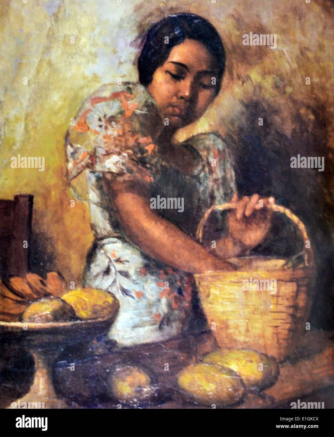 Fabian De La Rosa, Woman selecting Mangoes, 1935..  Oil on wood. - Stock Image