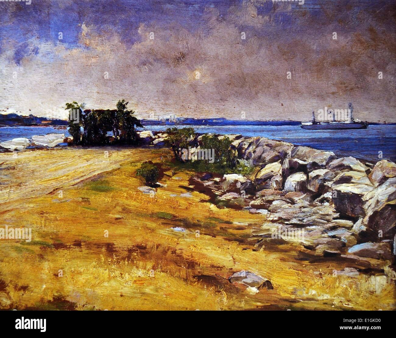 Fabian de la Rosa, Seaside, undated.  Oil on canvas. - Stock Image