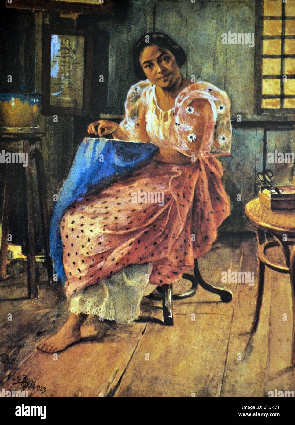 Fabian de la Rosa, Bordadora, 1923.  Watercolour. - Stock Image