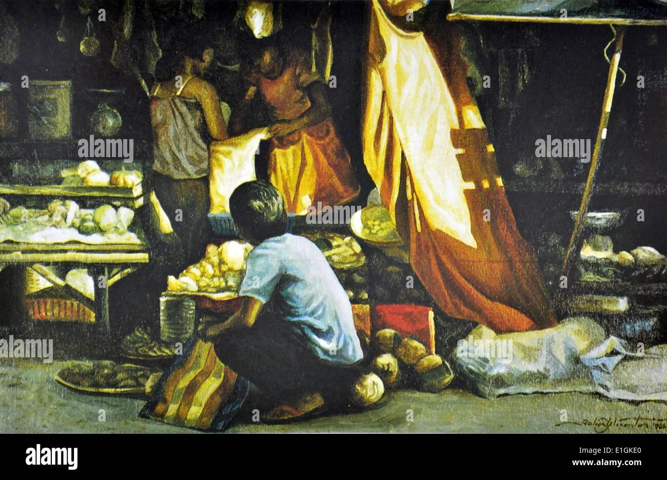Roland Dellos Santos, Market Scene 1986. Oil on canvas. - Stock Image