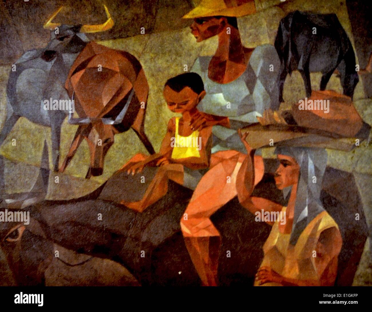 Hugo C. Yonzon, Early Risers, 1957. Oil on board. - Stock Image