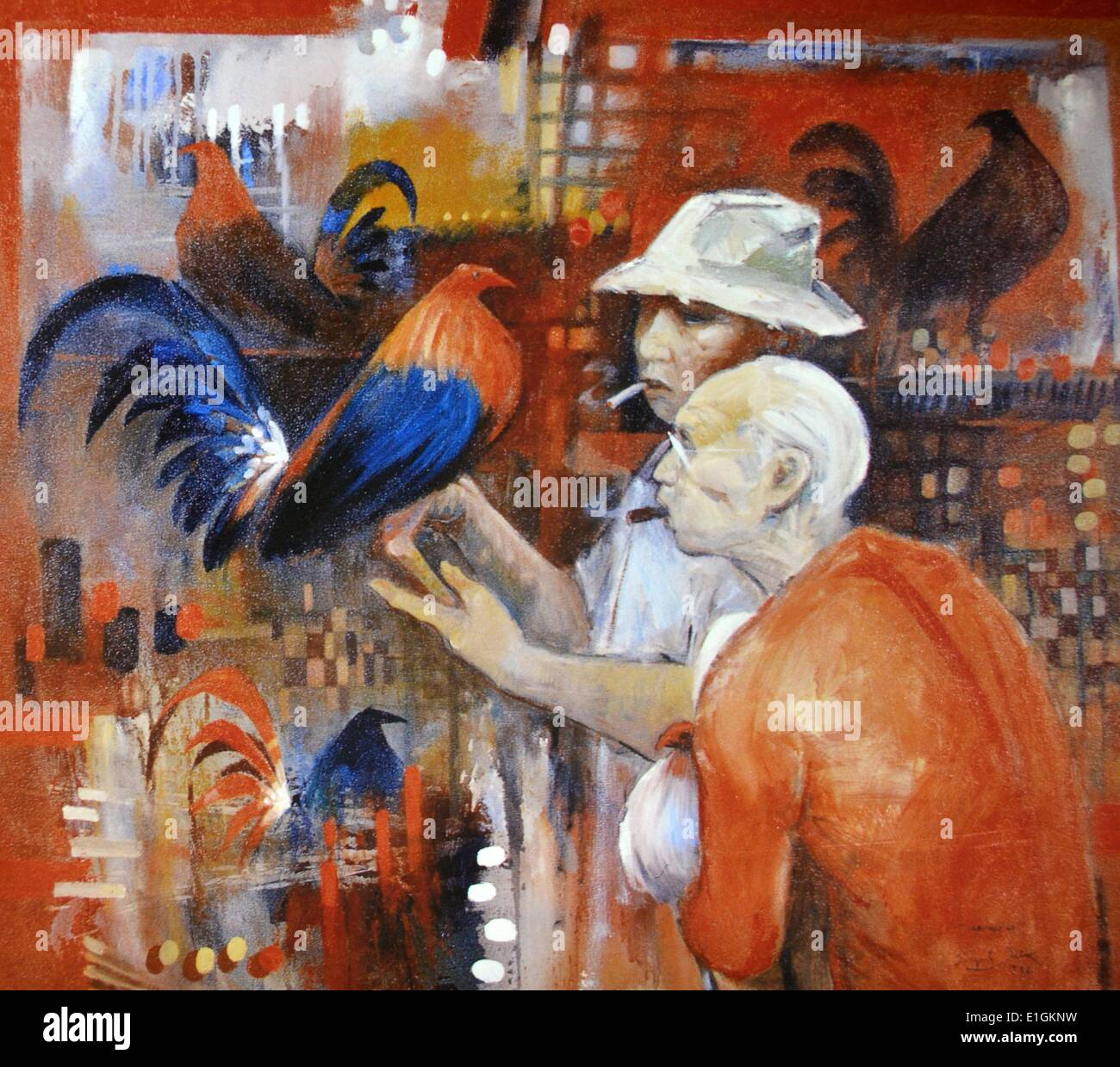 Edgar Doctor, Sabungero, 1992.  Oil on canvas - Stock Image