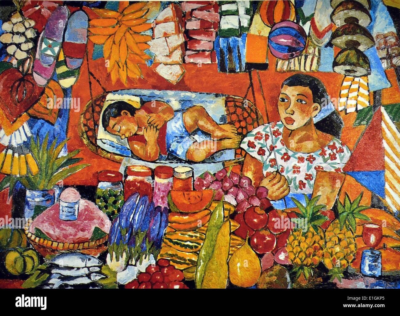 Norma Belleza, Fruit Vendor, 1992. Oil on canvas. - Stock Image