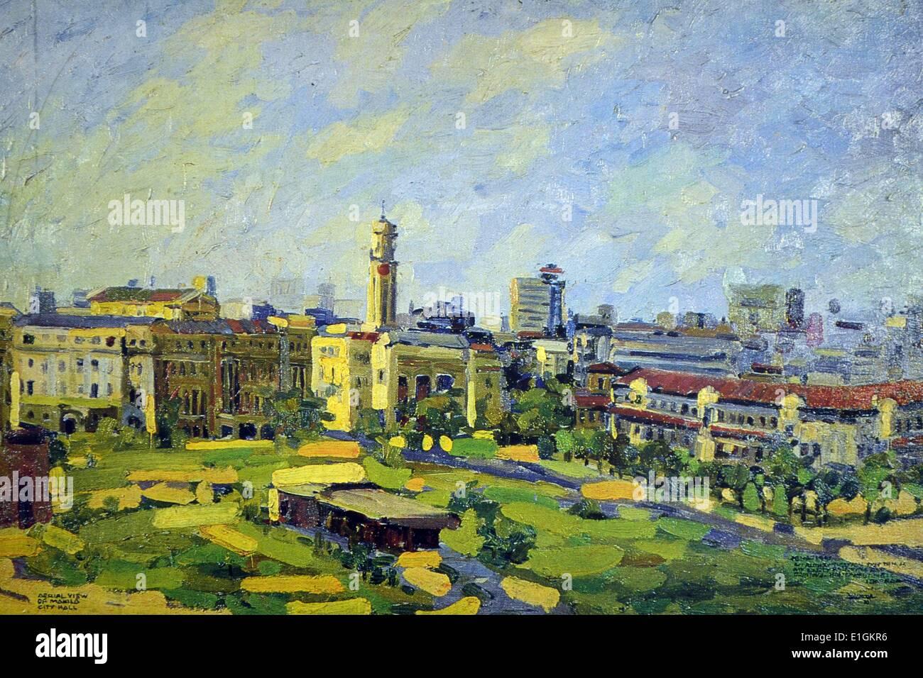 Ibarra De La Rosa, City hall, 1970. Oil on canvas. - Stock Image