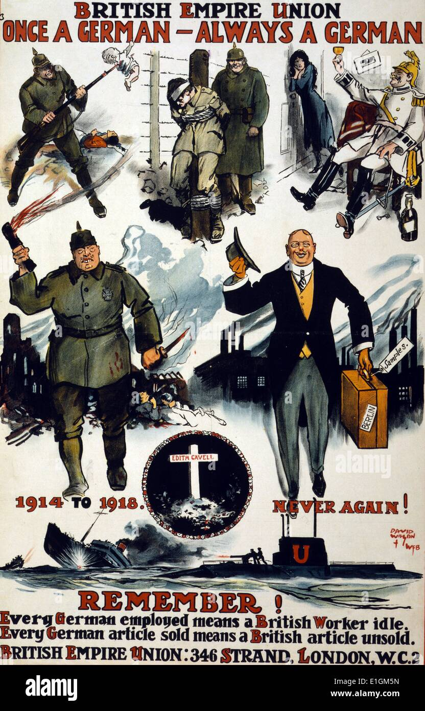 Poster showing caricatures of Germans, including wartime scenes of past violence, cruelty, and drunkenness, and Stock Photo