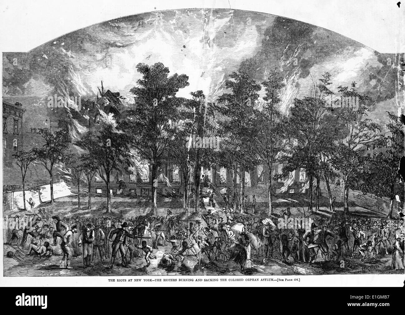 Wood engraving depicting the riots in New York. The rioters are seen burning and sacking the coloured orphans. Dated - Stock Image