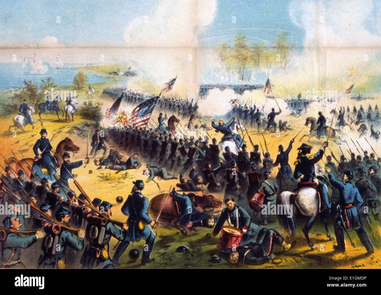 Colour lithograph of The Battle of Shiloh. Dated 1862 - Stock Image