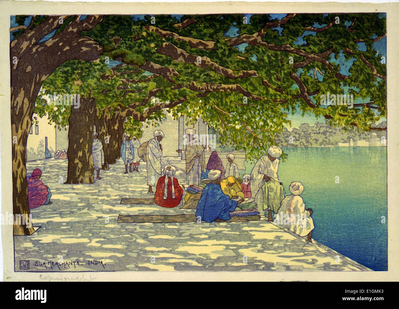 Painting of a group of silk merchants sitting by a river in India. - Stock Image