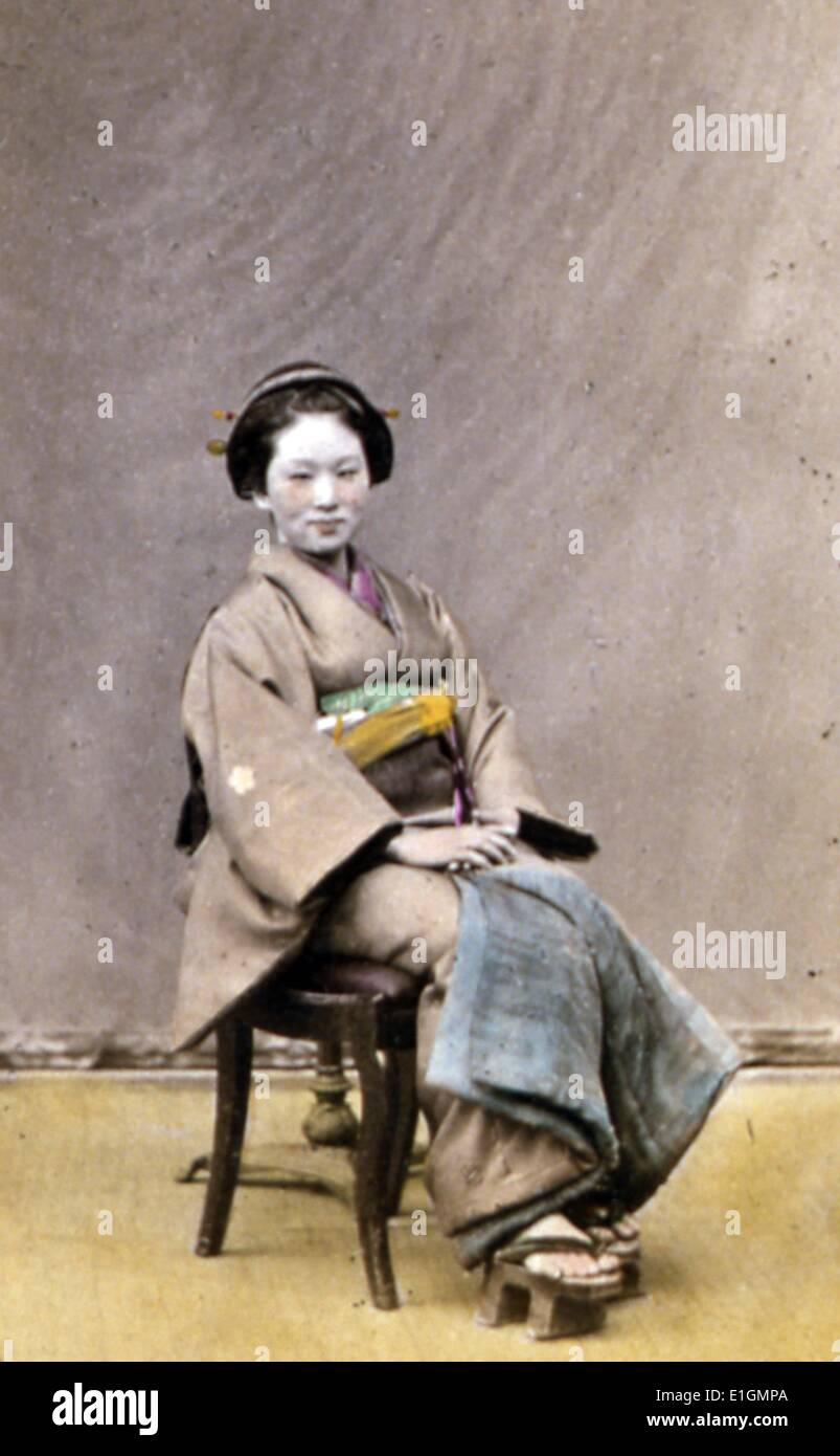 Photographic print portraits of the Stots-Bashi. By Frederick William Beato. Dated 1870 - Stock Image