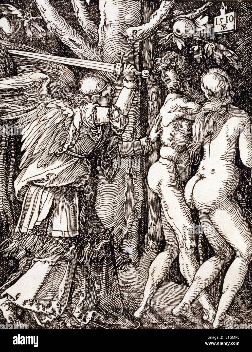 Small Passion. The expulsion from Paradise 1510. By Albrecht Dürer (1471-1528). Dated 1510 - Stock Image