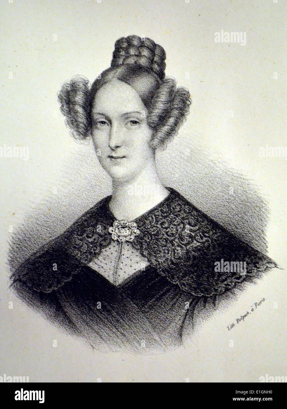 Louise Marie Therese of Orleans (1812-1850) Queen consort of the Belgians 1832-1850.  Lithograph, Paris, c1840. - Stock Image