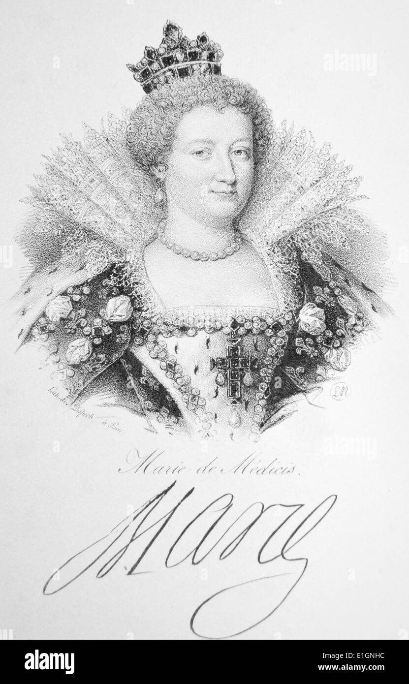 Marie de' Medici (1573-1647) wife of Henry IV of France. Regent for her son Louis XIII 1610-1617. Lithograph, Paris, c1840. - Stock Image