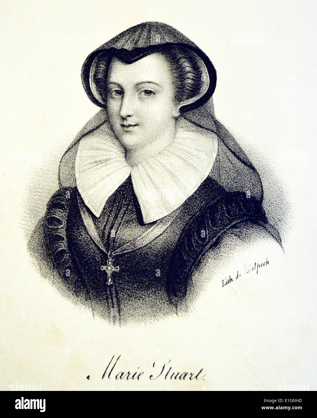 Mary, Queen of Scots (1542-1587).  Lithograph, Paris, c1840. Stock Photo