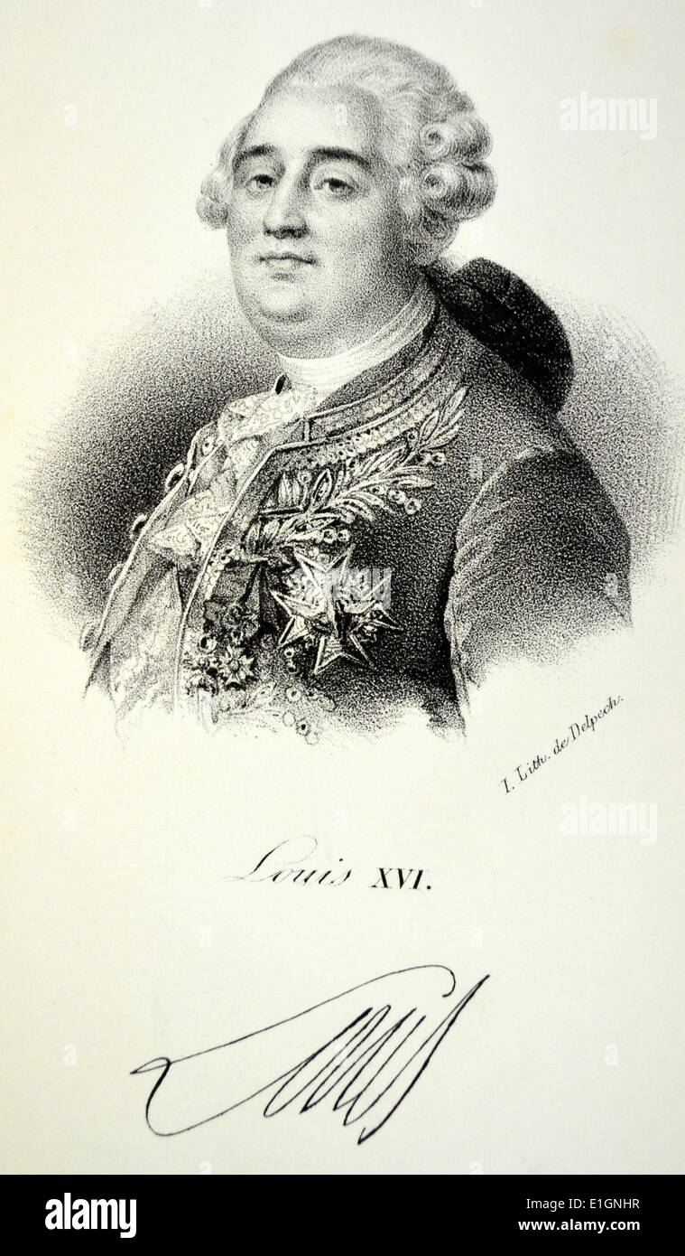 Louis XVI (1754-1793) guillotined in 1793 by French revolutionaries. Lithograh, Paris, c1840. - Stock Image