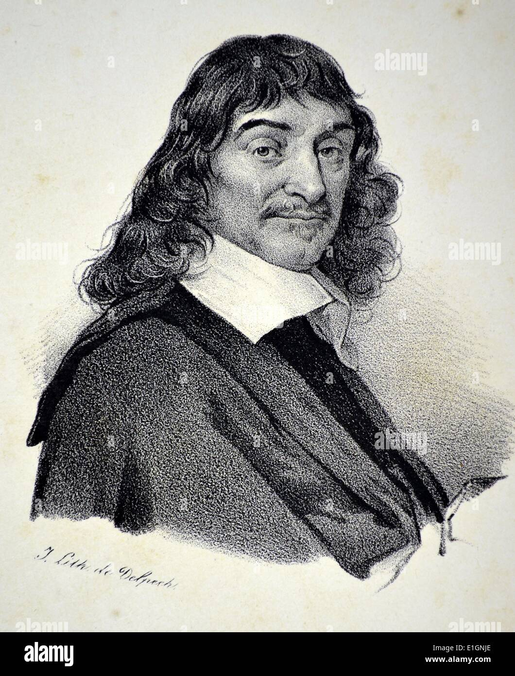 Rene Descartes (1596-1650) French m,athematician and philosopher.  Lithograph, Paris, c1840.