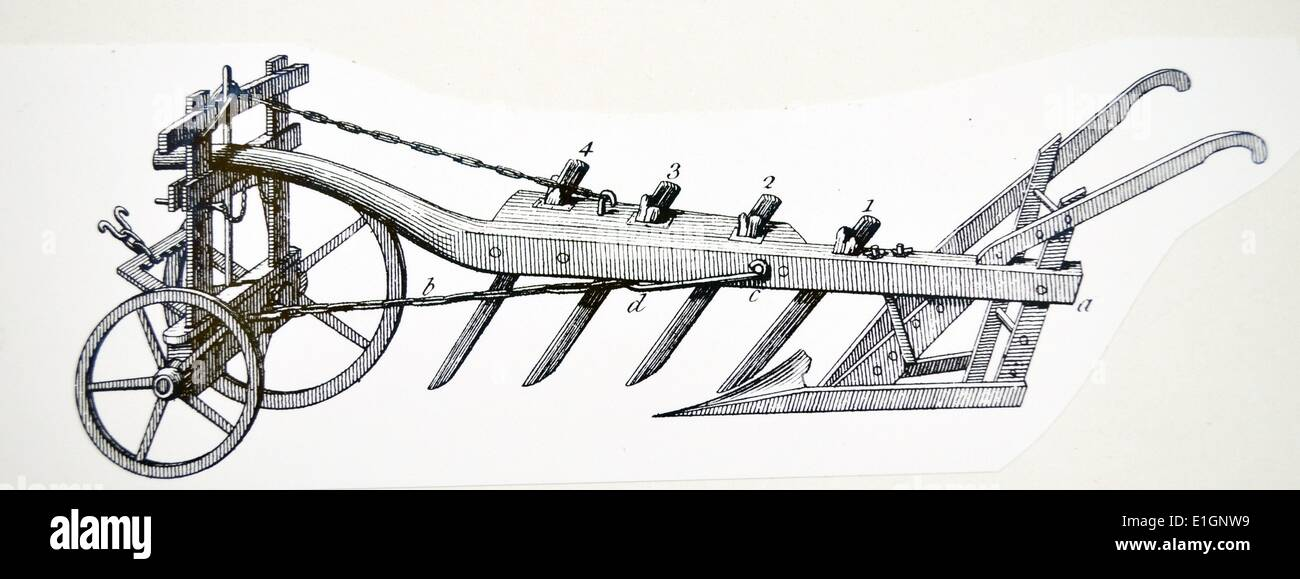 Wheeled Plough with Four Coulters - Stock Image