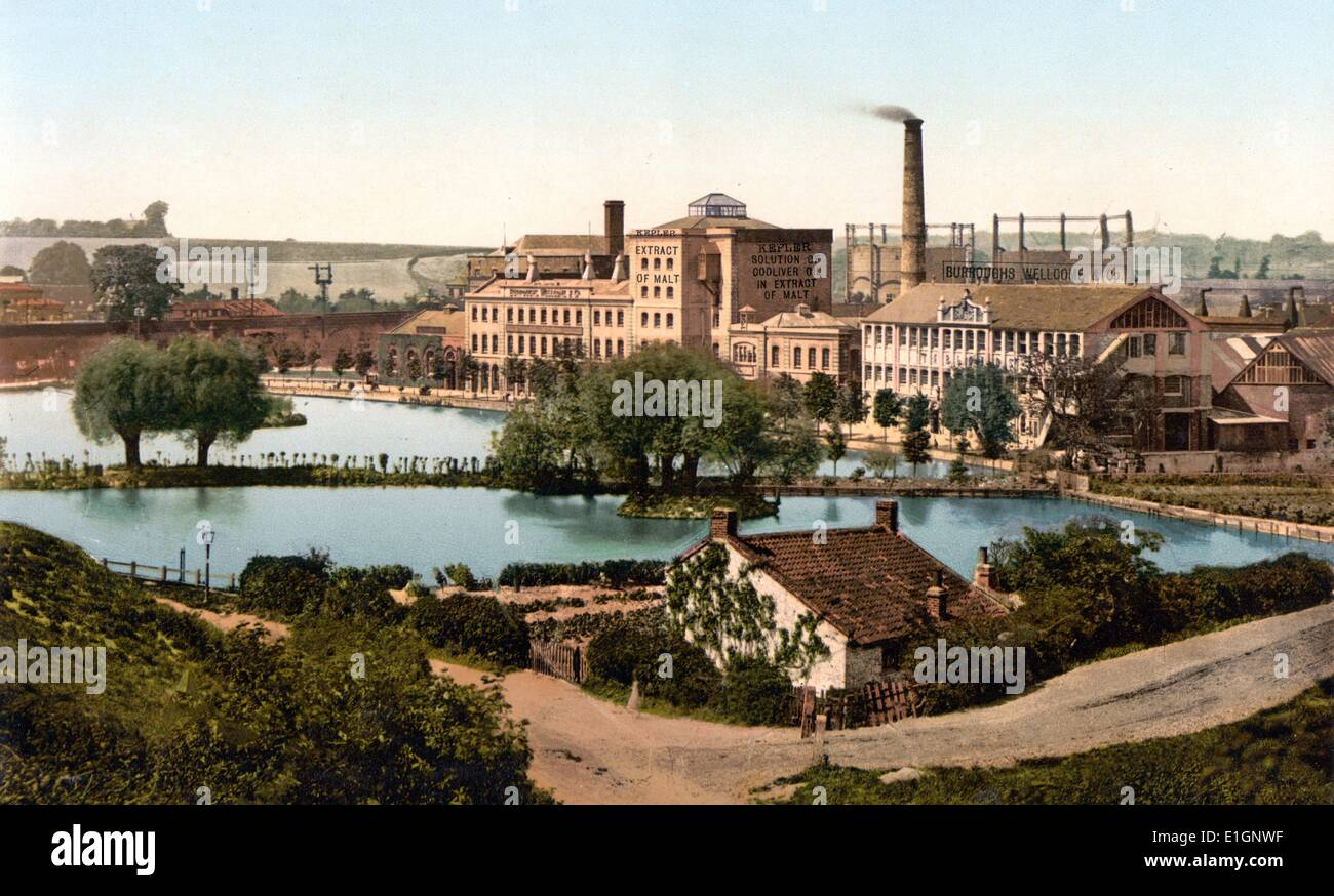 Dartford, Messrs. Burroughs, Wellcome & Co.'s factory, England, [between ca. 1890 and ca. 1900]. photochrom, color. - Stock Image