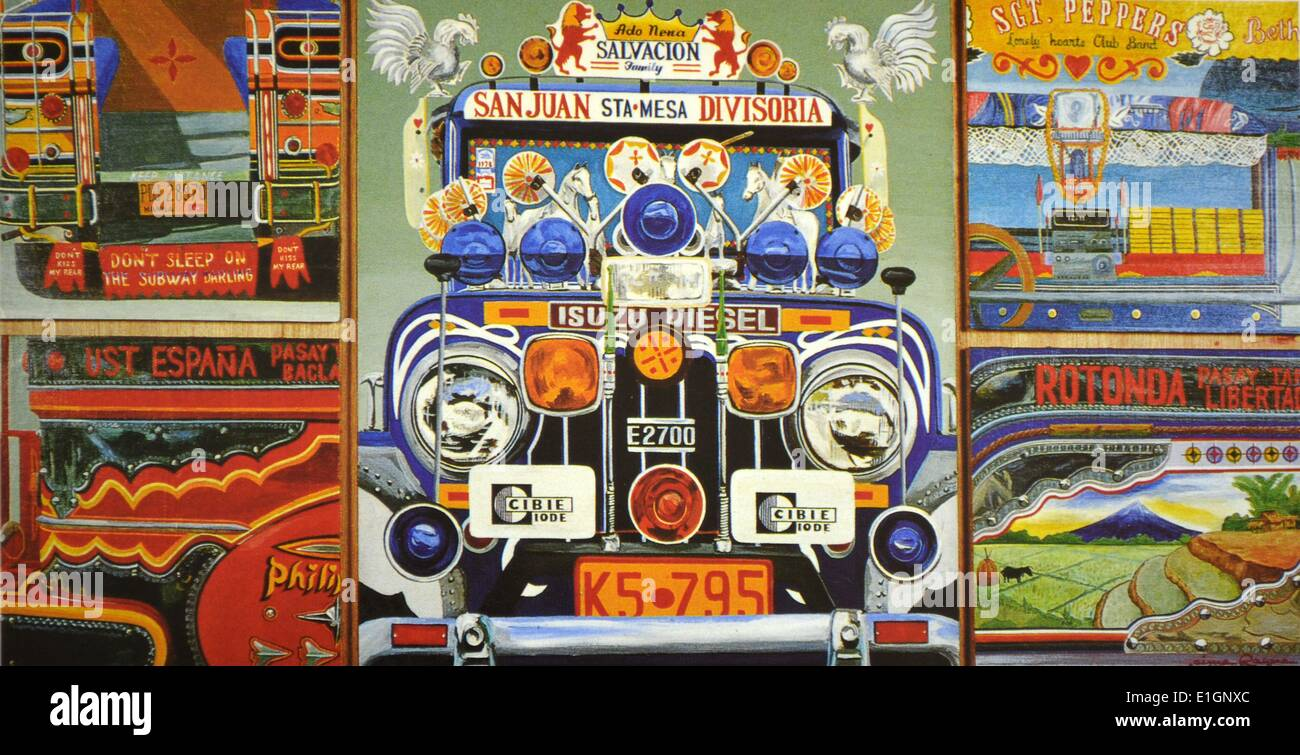 Jaime Roque, Jeepney, 1992. Oil on five panels. - Stock Image