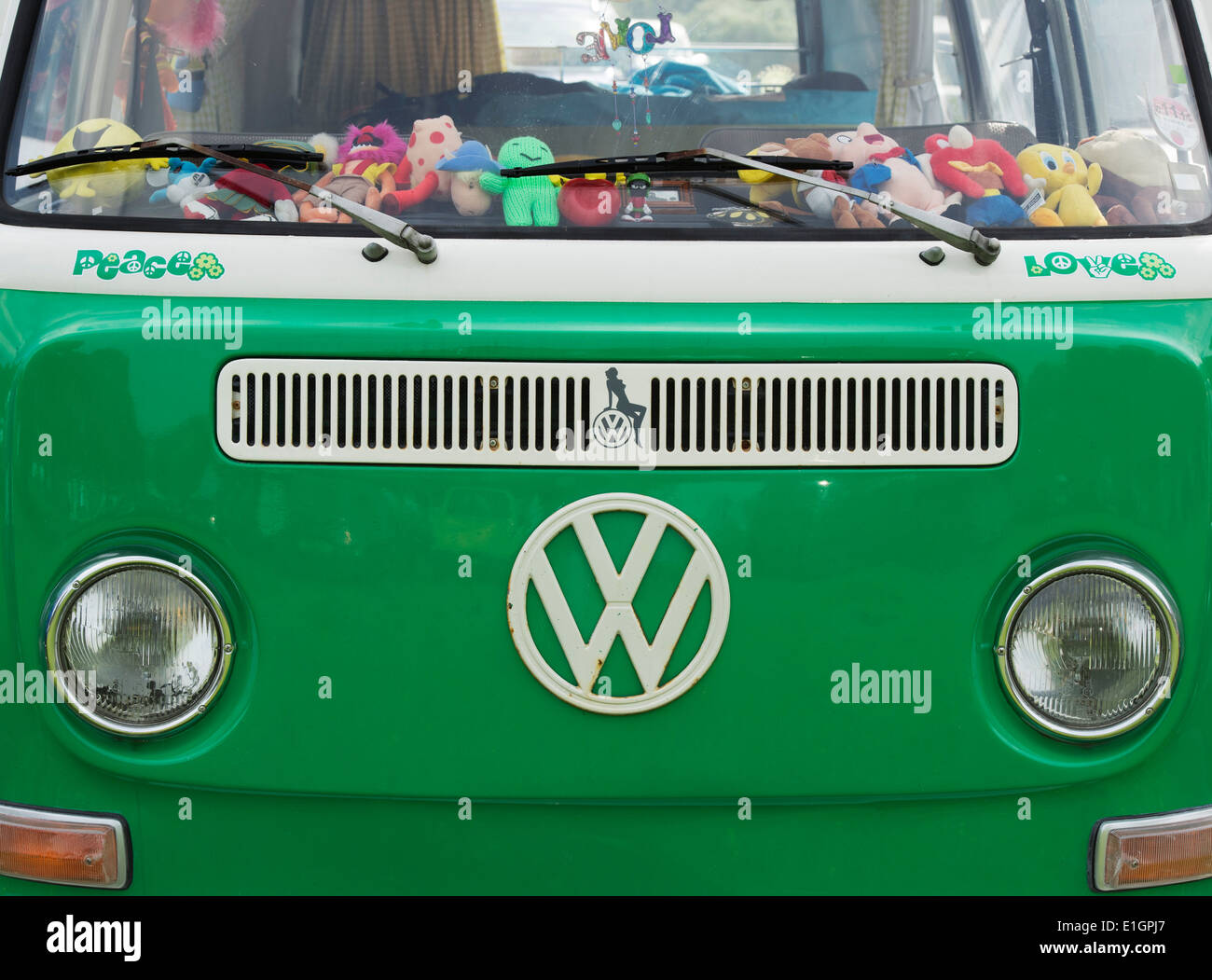 Peace and Love stickers on the front of a VW Campervan - Stock Image
