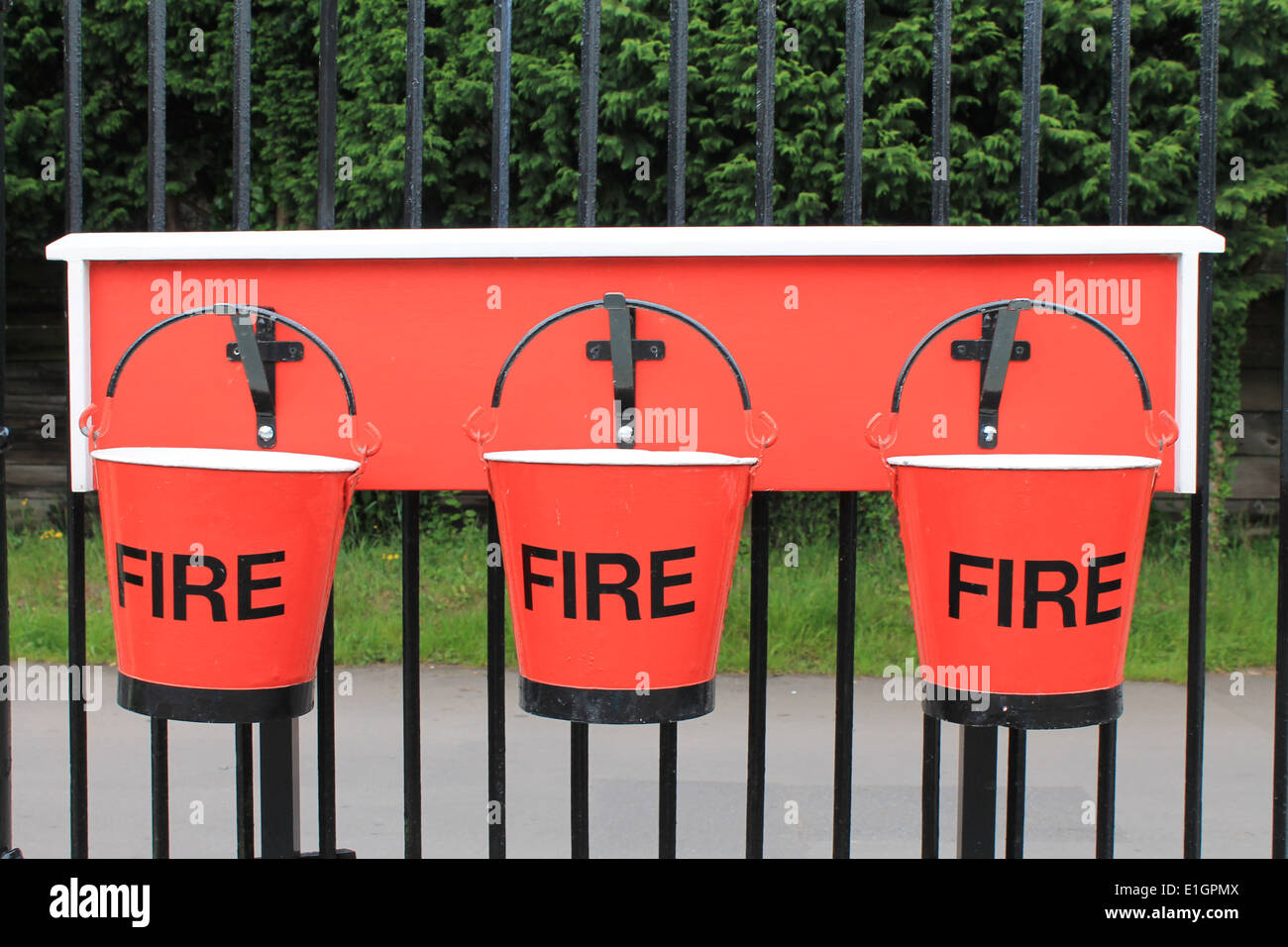 Fire safety buckets - Stock Image