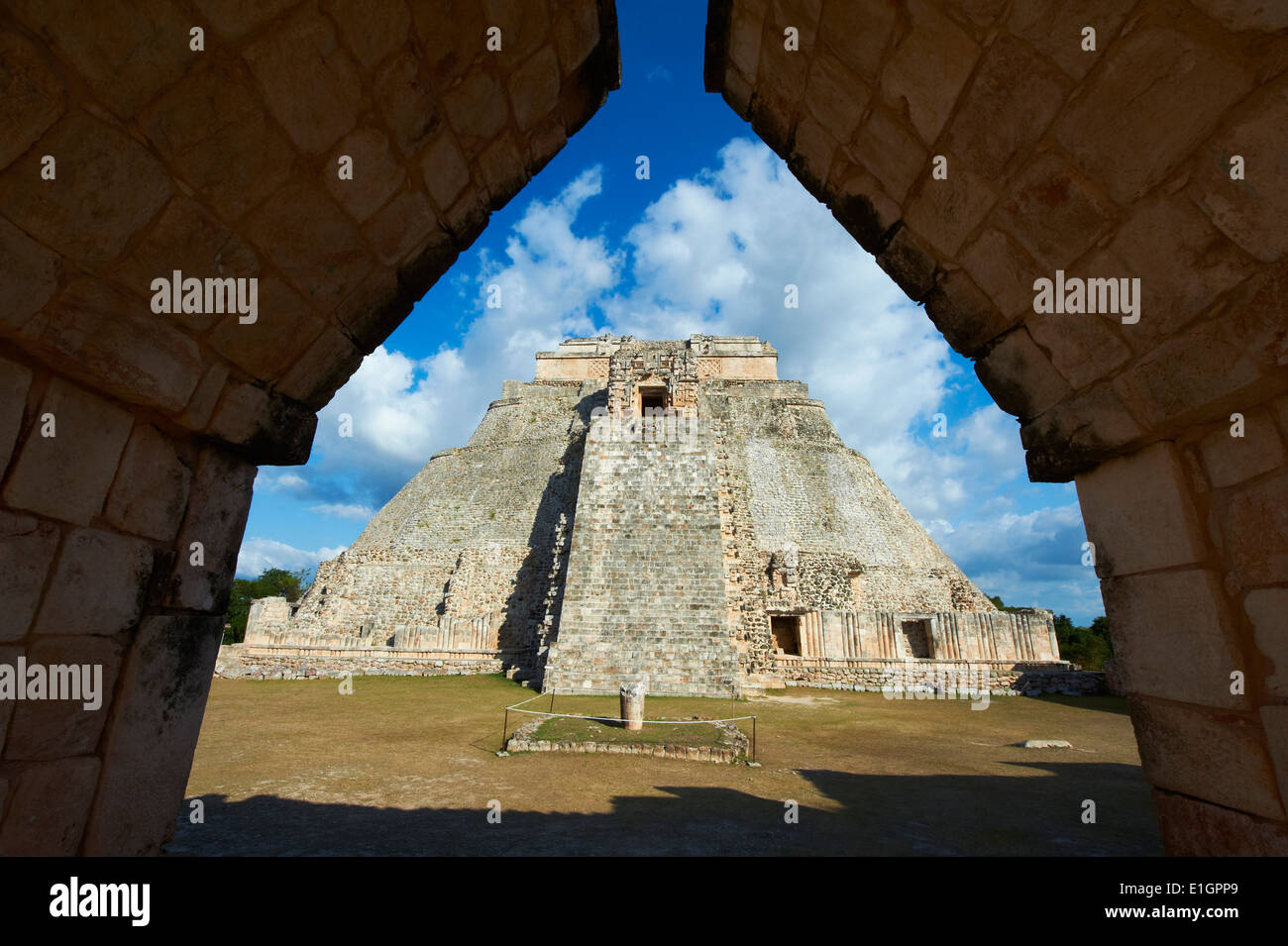 Mexico, Yucatan state, Uxmal, archaeological Mayan site, world heritage of the UNESCO, Magicians Pyramid, Governor's Stock Photo