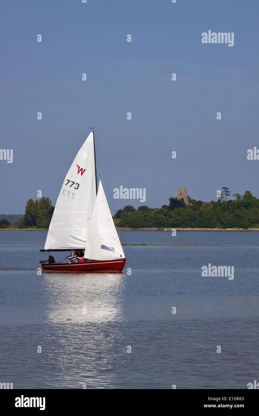 Sailing at Iken, Suffolk - Stock Image