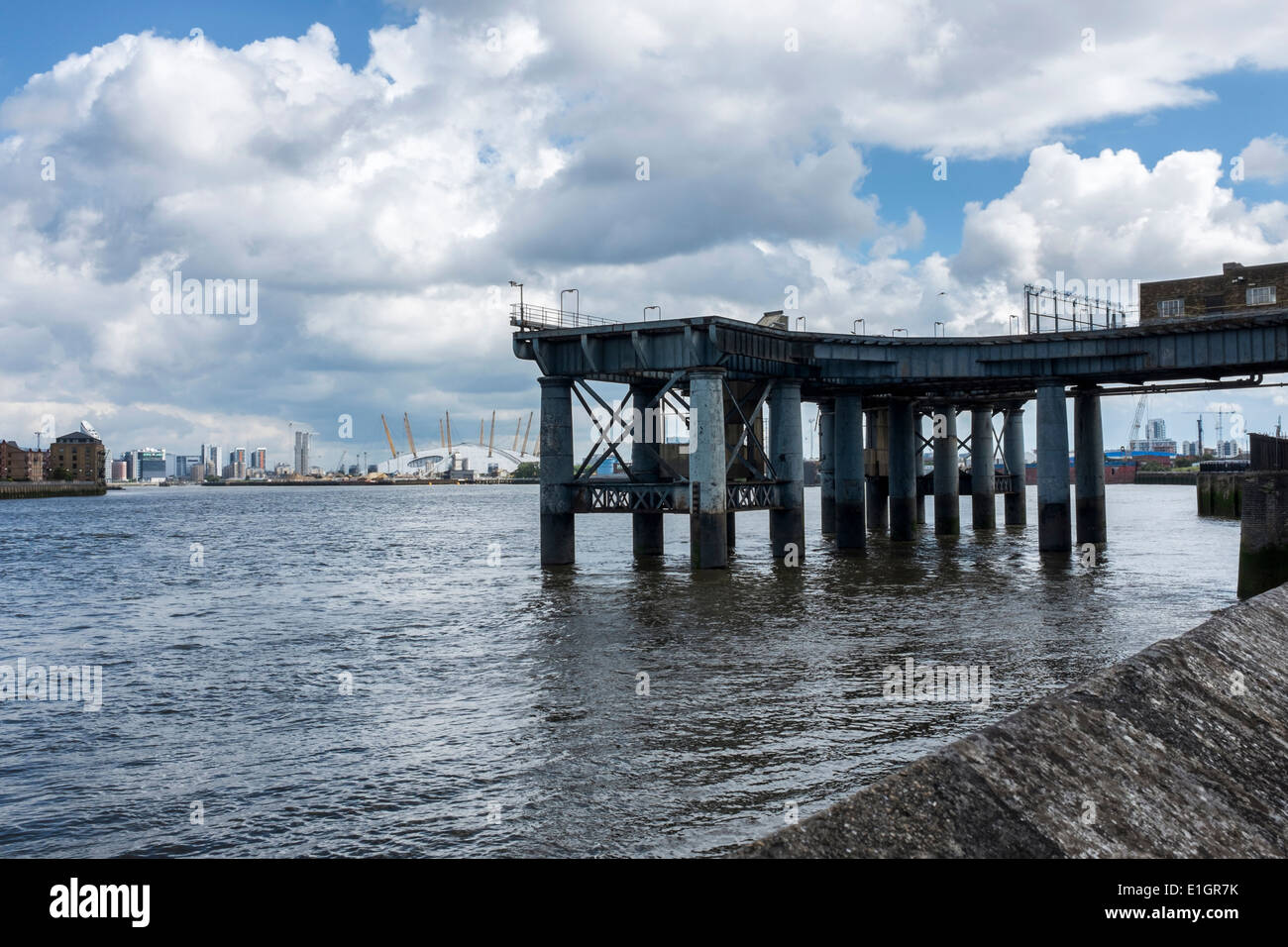 Greenwich Power Station Coal Jetty stands on 16 Doric-style cast iron columns in the Thames river, London, UK - Stock Image
