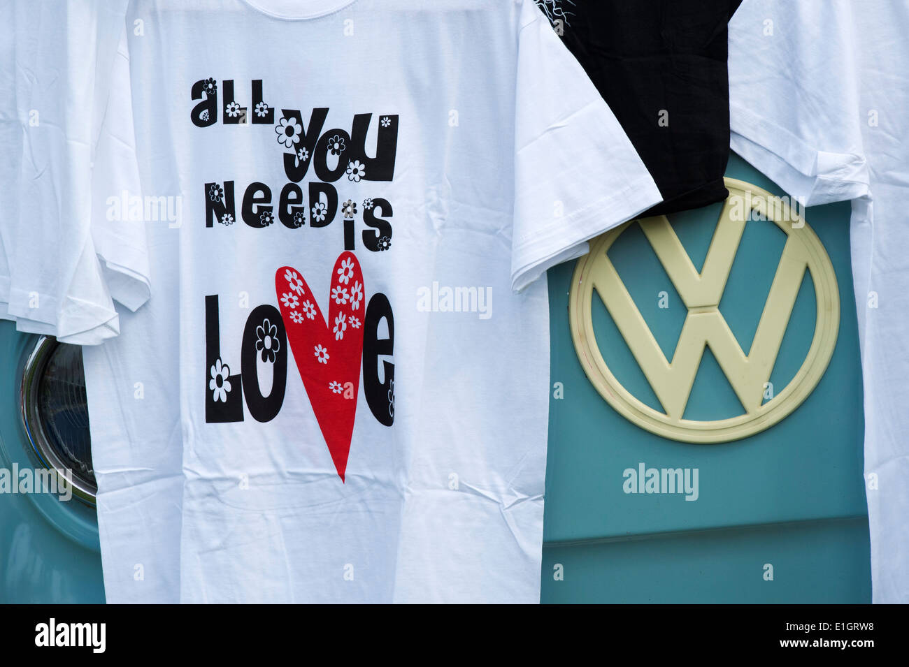 All you need is Love tee shirt at a VW Show. England - Stock Image
