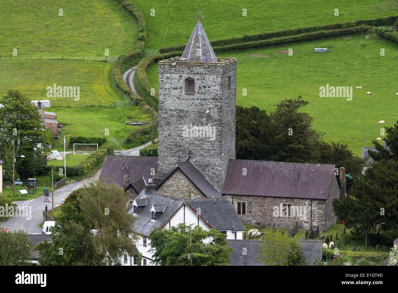 Llanfihangel-y-creuddyn village and church, Ceredigion - Stock Image